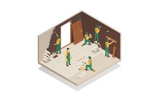 装修工人正在进行室内装