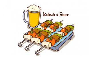 手绘漫画蔬菜烧烤串配啤酒背景设计素材