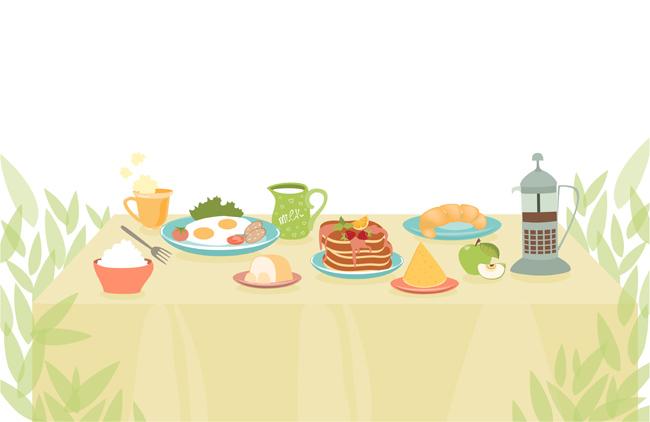 浪漫的餐桌上食物场景漫画设计素材
