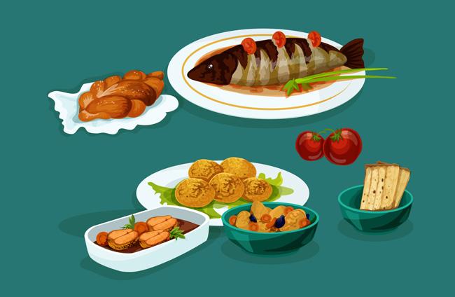 餐厅桌子上红烧鱼美食配菜手绘背景设计