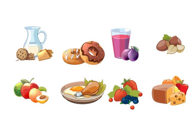 手绘美食食品各种菜品矢量素材下载