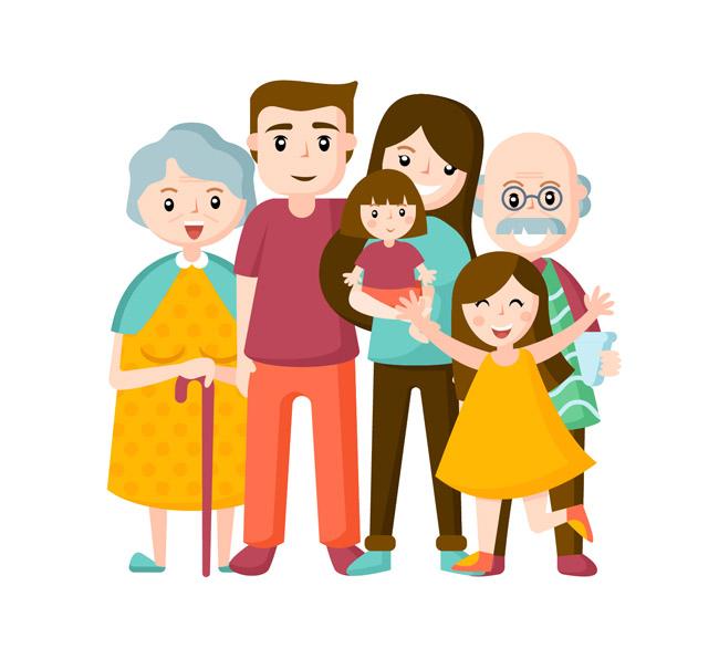 手绘家庭一家人素材图