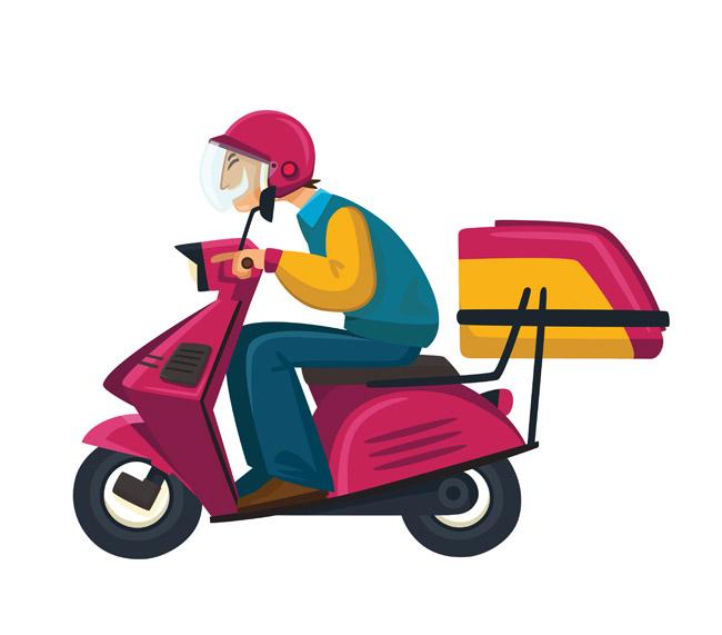 送外卖的卡通动漫人物形象设计素材 外送快递员素材下载矢量