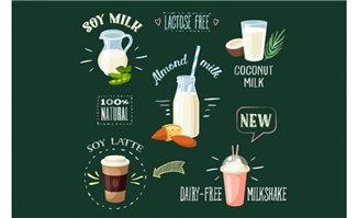 手绘矢量高蛋白饮料食品
