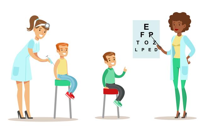 主页 矢量文件 矢量人物 > 儿童打针检查视力的漫画背景设计素材