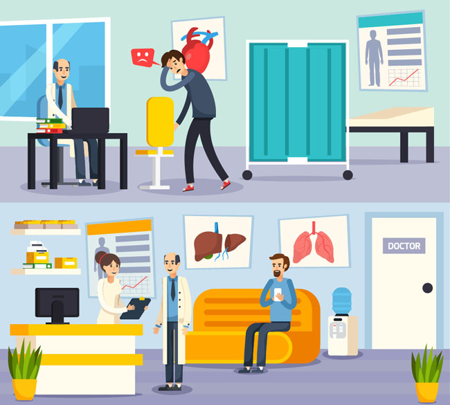 平面风格医院心脑血管科室的场景设计素材