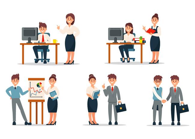 扁平化商务合作的人物形象设计图片