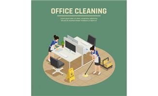 办公桌周围做清洁的保洁
