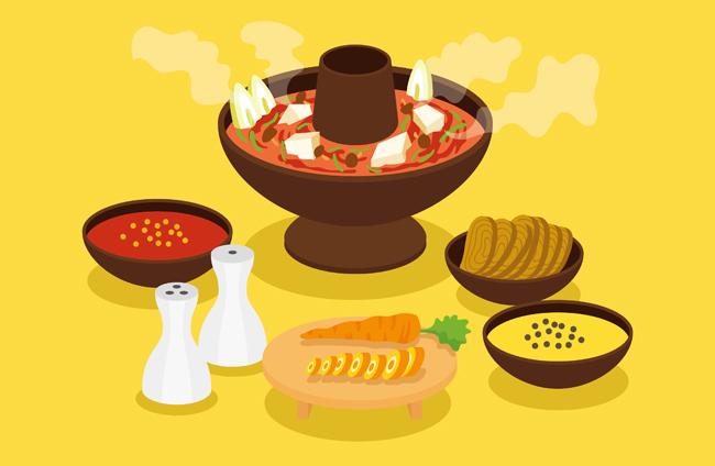 小火锅食物海报背景设计矢量素材  扁平化火锅插画设计  手绘矢量