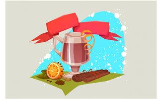 插画下午茶创意搭配背景