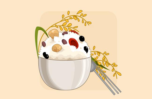 一碗米饭食物背景设计素材  手绘米饭创意背景设计  卡通米饭背景设图片