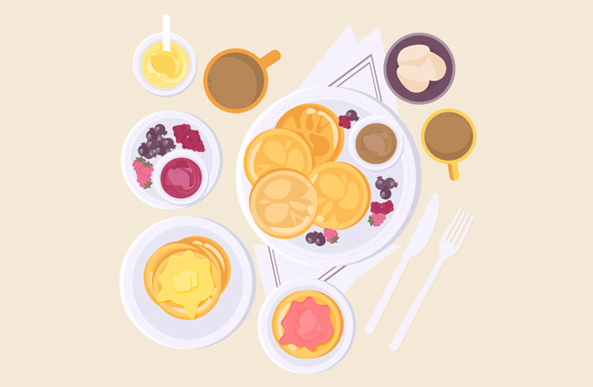 扁平化早餐美食背景矢量素材下载