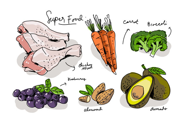 手绘食材食物菜品原料素材