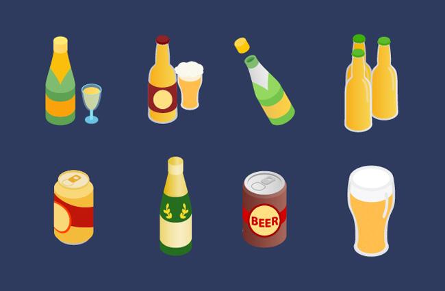 手绘啤酒饮料饮品素材  易拉罐   啤酒杯  酒瓶  啤酒包装设计矢量