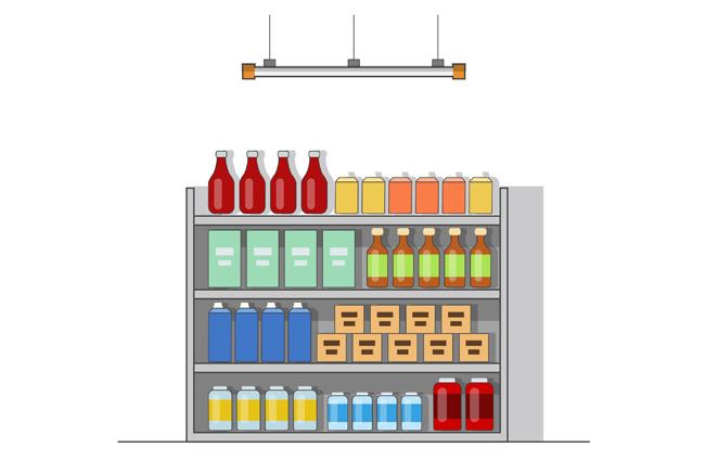 手绘商店饮料元素  饮料食品  食品  奶制品  美食  超市   货架