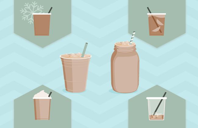 一年四季的饮料食物 美食  扁平化卡通美食背景设计矢量素材下载