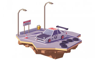 3d小汽车模型场景素材下载