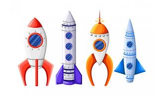 4款不同造型的火箭图标设