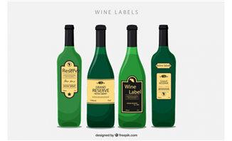 4瓶洋酒包装设计矢量素材