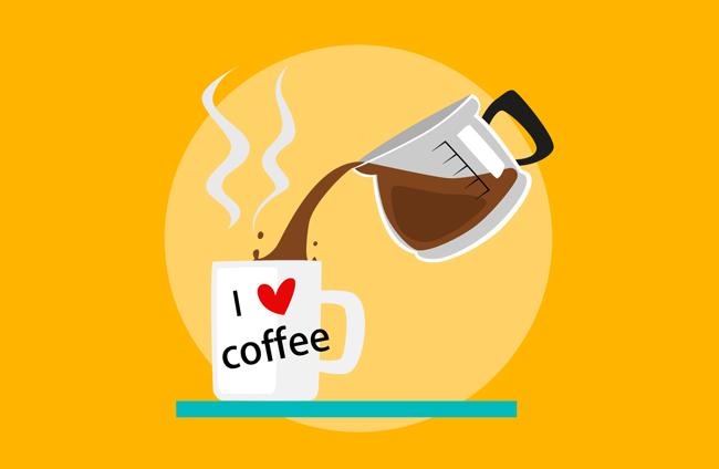 咖啡扁平化杯子海报背景设计素材