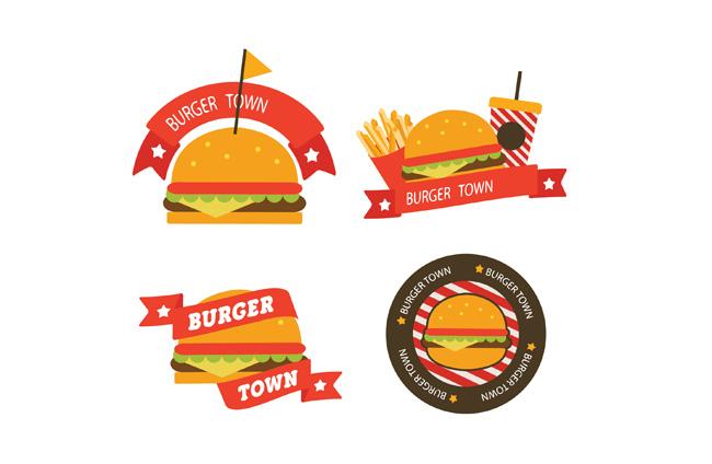 汉堡快餐美食图标标签设计素材 4款创意汉堡包店标签矢量素材  扁平