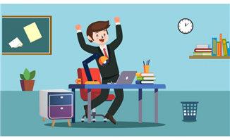 卡通商务人物正在办公室办公场景设计_漫品购_mg动画_图片