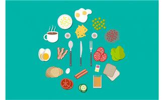 扁平化食物和道具背景设