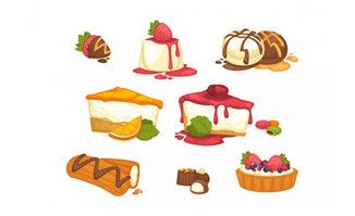卡通插画蛋糕美食甜点食