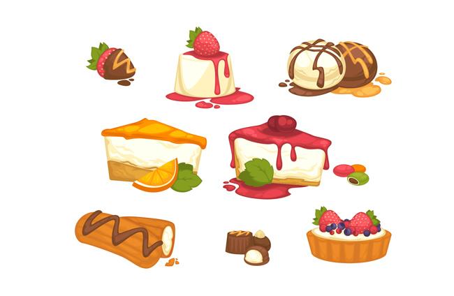 主页 矢量文件 食品果蔬 > 卡通插画蛋糕美食甜点食物背景设计