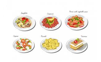 手绘美食菜品图案背景设