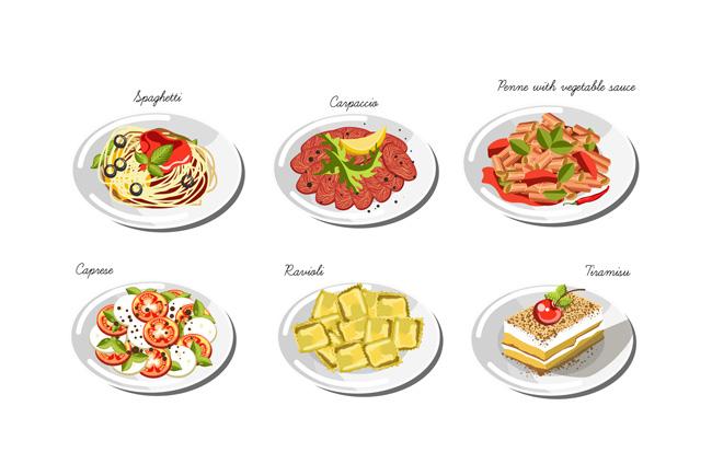 手绘美食菜品图案背景设计矢量素材