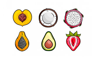 手绘各种水果剖面图图标