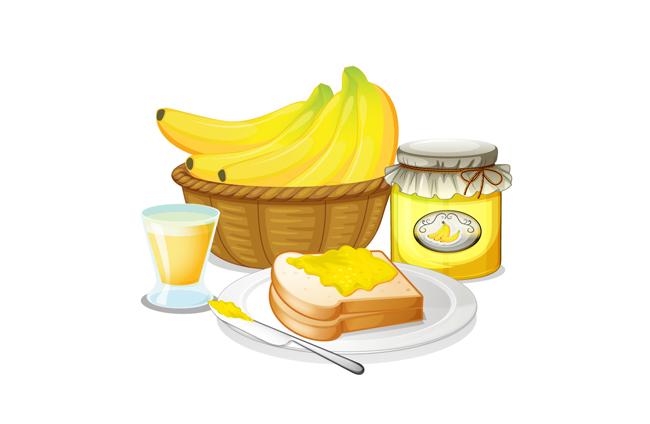 早餐香蕉面包组合的美食背景设计 香蕉与面包图片  手绘卡通面包图片