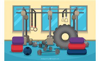 健身房的各种健身设备装置场景