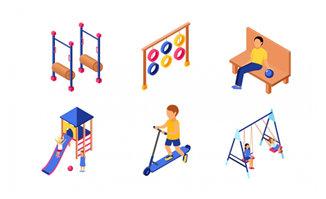 儿童健身运动器材元素图案设计素材