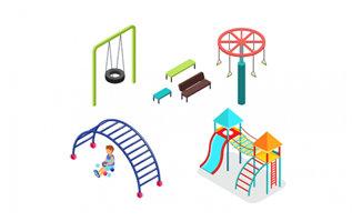 公园体育装备设施器材元素背景素材