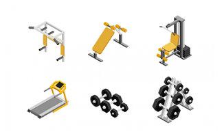 哑铃健身跑步机设备图案设计素材