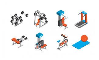 卡通健身房里面的装置设备素材下载