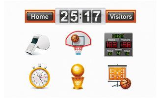 篮球运动比赛所需的设备装置图标设计