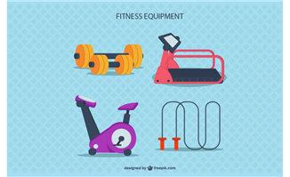 扁平化风格的健身房健身器材设备素材
