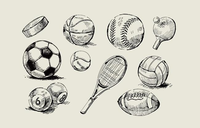 手绘黑白风格的球类装置图案设计  羽毛球  台球  足球  橄榄球