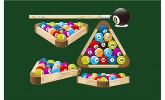 台球桌球各种角度的图案设计素材