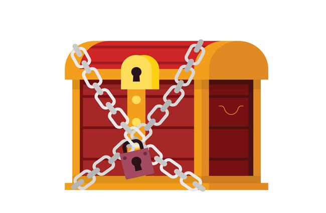 扁平化宝箱卡通图标造型设计矢量素材 卡通锁链宝箱元素  扁平化箱子