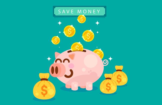 蓝色背景上小猪储钱罐背景创意设计素材 卡通微笑猪储蓄罐和金币图片