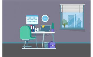 简单色彩办公室电脑桌场