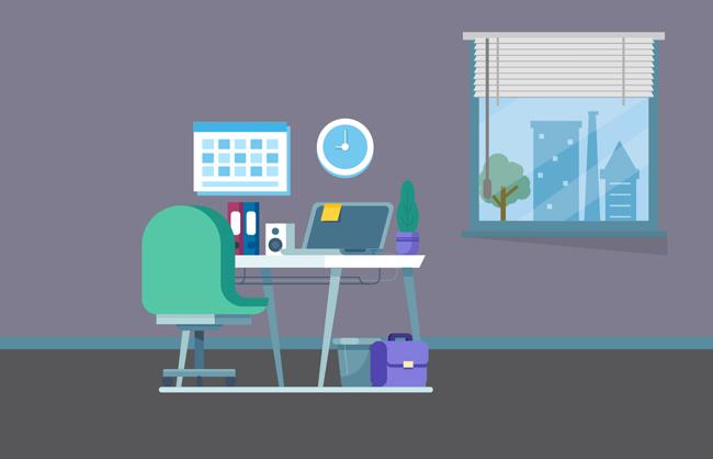 简单色彩办公室电脑桌场景设计素材_漫品购_mg动画_源