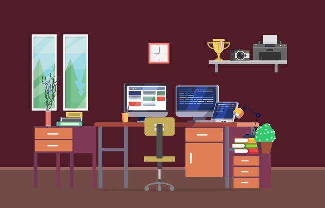 现代商务办公室mg动画制作场景设计素材_漫品购_mg_源