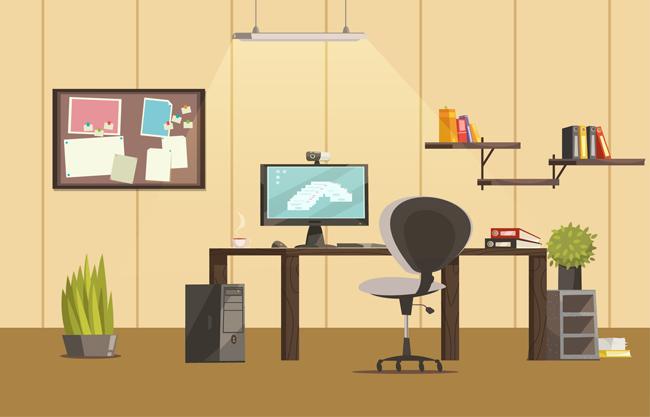 扁平化风格的办公室场景设计矢量素材