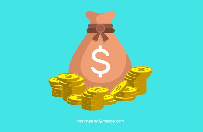 手绘矢量扁平化钱袋金币造型设计素材