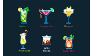 6款鸡尾酒水杯酒杯造型设